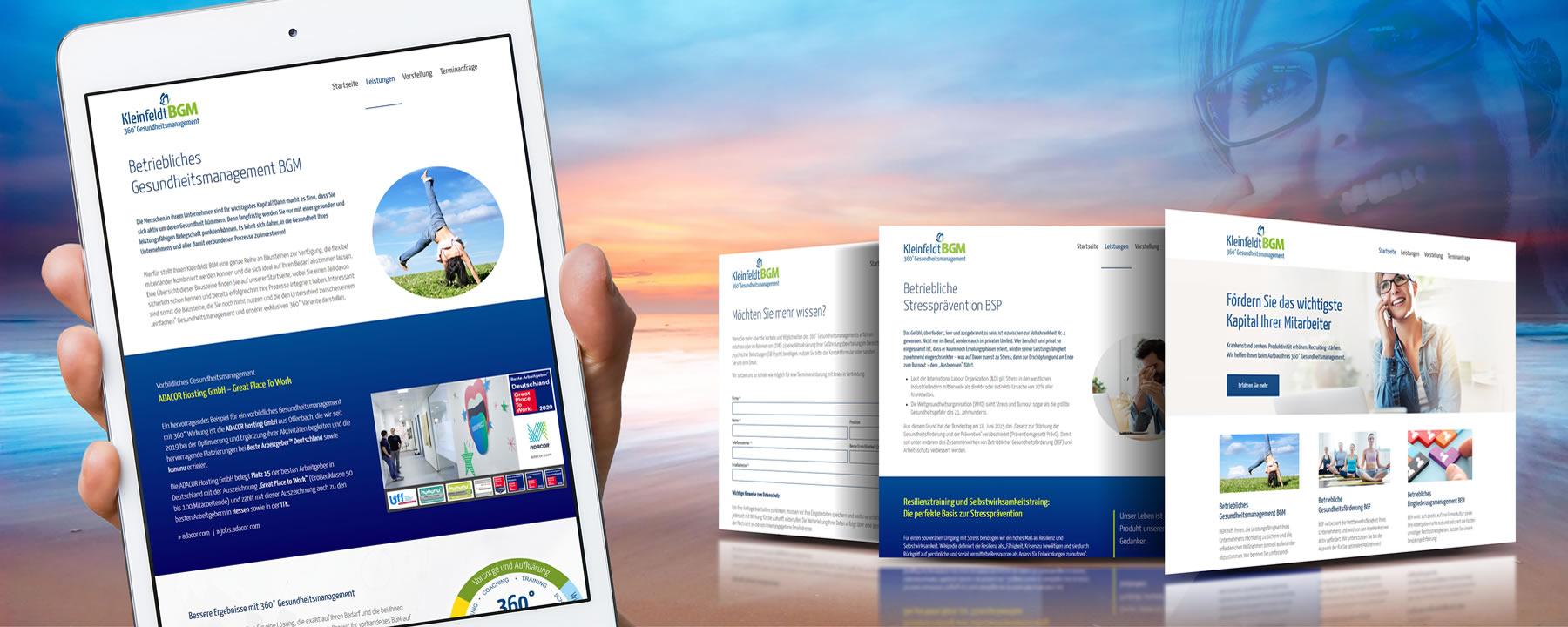 Webseite für Kleinfeldt BGM 360° Gesundheitsmanagement