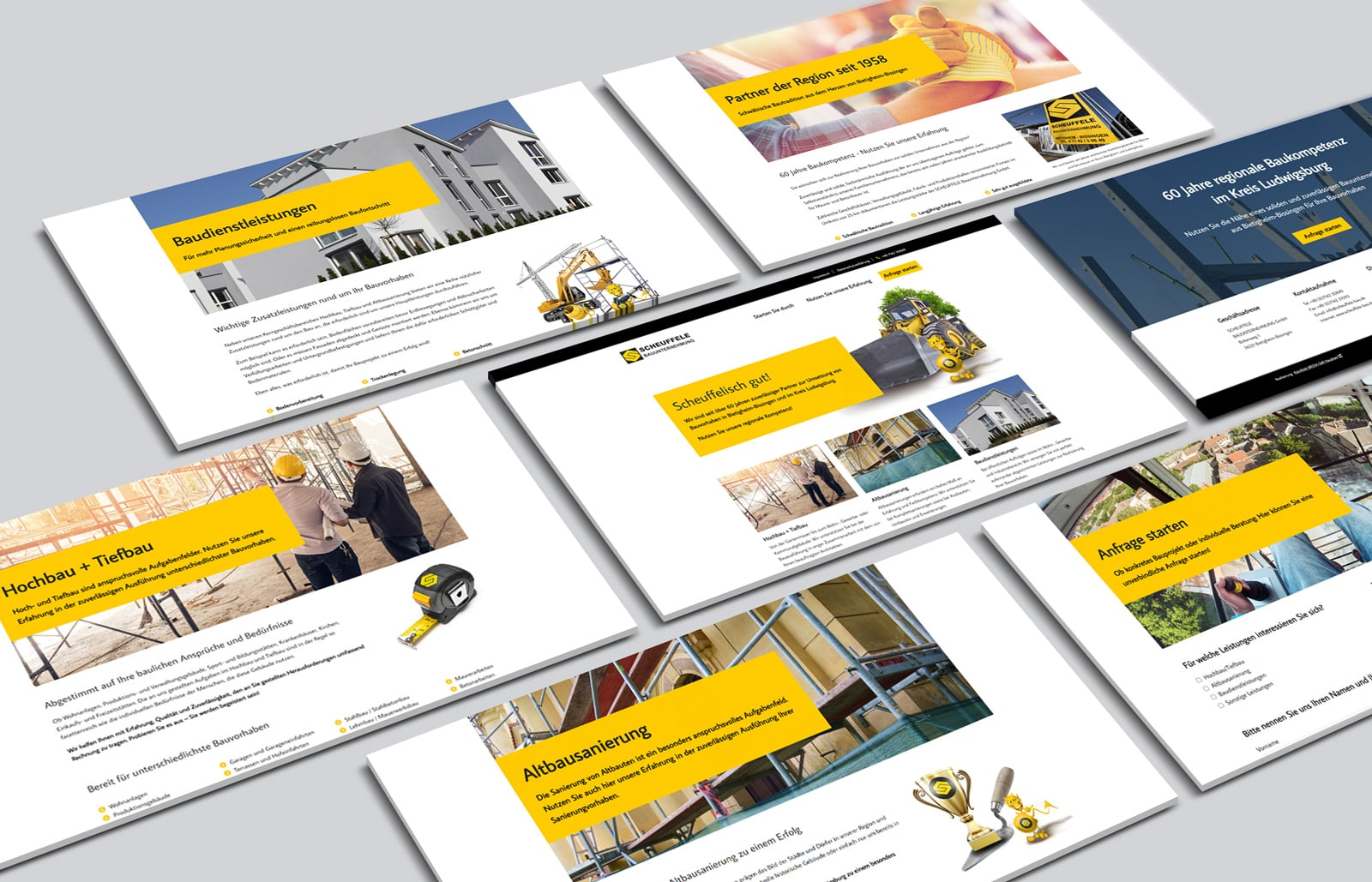 Homepage Erstellung für Bauunternehmung Scheuffele